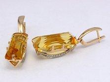 Золотые серьги с цитринами и фианитами Одетта