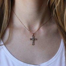 Серебряный крест Внутренняя молитва с евро позолотой и чернением
