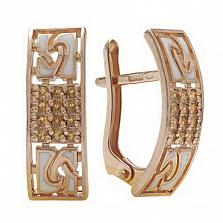 Золотые серьги Роксет с цитрином и эмалью