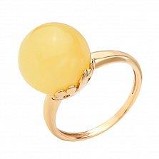 Позолоченное серебряное кольцо Альбано с лимонным янтарем и кастом в виде цветов