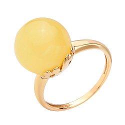 Позолоченное серебряное кольцо с лимонным янтарем и кастом в виде цветов 000118963