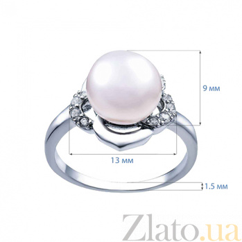 Серебряное кольцо с белым жемчугом Миса AQA--R00639PW