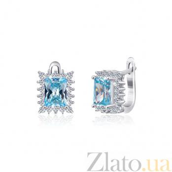 Серебряные серьги с голубыми фианитами Глэдис SLX--СК2ФТ/380