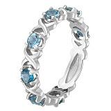 Кольцо в белом золоте Венеция с голубым топазом
