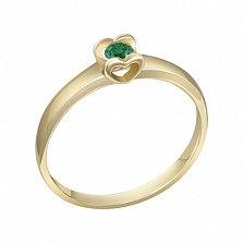 Кольцо в желтом золоте Желание сердца с изумрудом
