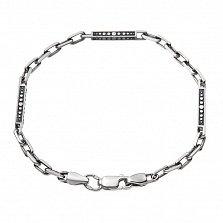 Серебряный браслет Миллениум с разноформатными чернеными звеньями, 3,5мм