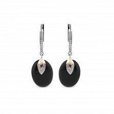 Серебряные серьги-подвески Феодосия с золотыми накладками, имитацией черного оникса и фианитами