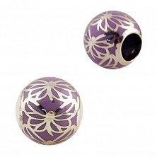 Серебряный шарм Мотыльки с фиолетовой эмалью