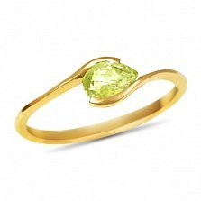 Золотое кольцо Тонкие грани в желтом цвете с цитрином