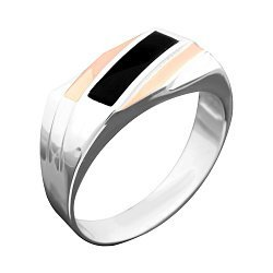 Срібний перстень-печатка з золотими накладками, чорною емаллю та родієм 000079112