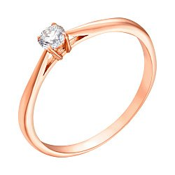 Кольцо из красного золота с бриллиантом 0,14ct 000034578