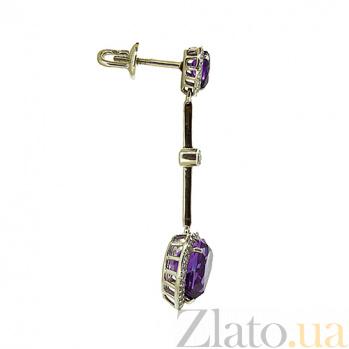 Золотые серьги с бриллиантами и аметистами Танго ZMX--EAm-6609w_K