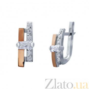 Серьги из серебра с золотом и фианитами Бруклин AQA--Г038С