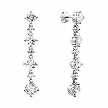 Серебряные серьги-подвески с фианитами 000134015
