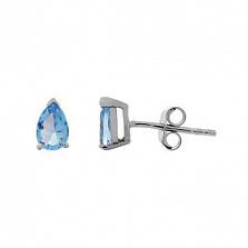 Серебряные серьги пусеты с голубым цирконом