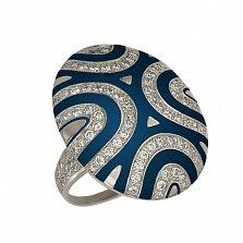Золотое кольцо Светская львица с фианитами и синей эмалью