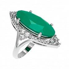Серебряное кольцо Селина с зеленым агатом и фианитами