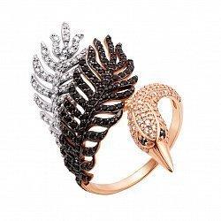 Золотое кольцо Сказочный лебедь в комбинированном цвете с черными и белыми фианитами