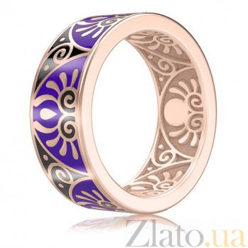 Мужское обручальное кольцо из розового золота с эмалью Талисман: Души 3047