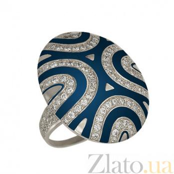 Золотое кольцо Светская львица с фианитами и синей эмалью VLT--Т161-1