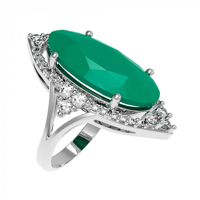 Серебряное кольцо Селина с зеленым агатом и фианитами 000079690