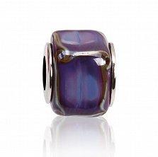 Серебряный шарм Французский фиолет с муранским стеклом