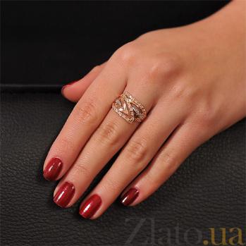Золотое кольцо с фианитами Горячее пламя EDM--КД0430