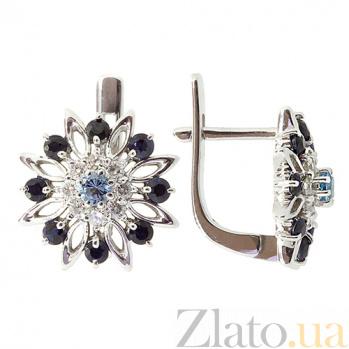 Золотые серьги с сапфирами, топазами и бриллиантами Стэлла ZMX--EDST-5585w_K