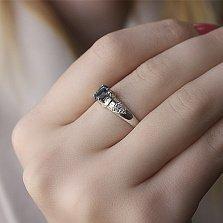 Серебряное кольцо Диадора с лондон топазом и фианитами