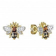 Серьги из желтого золота Пчелка с цитринами и бриллиантами