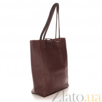 Кожаная сумка на каждый день Genuine Leather 8040 темно-коричневого цвета на завязках 000093336