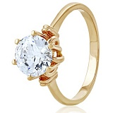 Золотое кольцо с кристаллом Swarovski Вирджиния