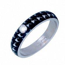 Золотое кольцо Пастель с фианитом и эмалью гусиные лапки
