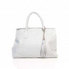 Кожаная сумка на каждый день Genuine Leather 8907 серого цвета на молнии с декоративной кистью