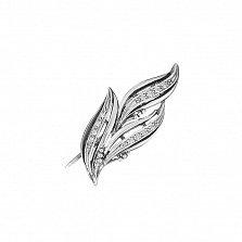 Серебряная булавка Волшебные лепестки с цирконием