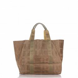Кожаная сумка на каждый день Genuine Leather 8252-1 коричневого цвета с накладным карманом