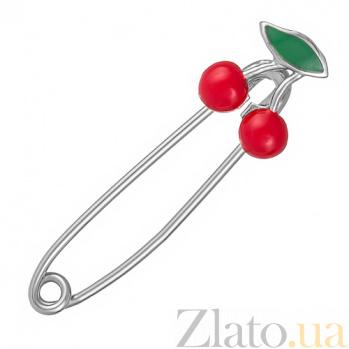 Серебряная булавка Вишенки с красной эмалью и родием 000067769