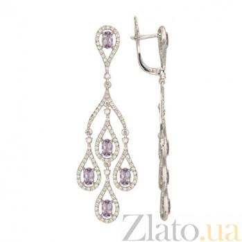 Серьги Патриция в белом золоте с фиолетовым цирконием VLT--ТТТ2396