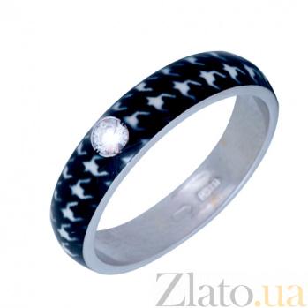 Золотое кольцо Пастель с фианитом и эмалью гусиные лапки К220бел/гл