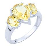Серебряное кольцо Луизина с цитрином