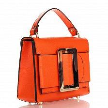 Кожаный клатч Genuine Leather 1683 оранжевого цвета с короткой ручкой и декоративной пряжкой