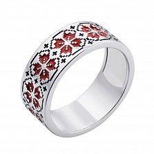Серебряное кольцо с красной и черной эмалью 000133288