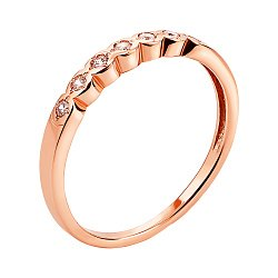 Кольцо из красного золота с фианитами 000135131