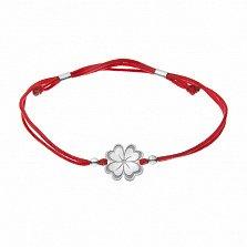 Шёлковый браслет На удачу с серебряной вставкой в форме клевера