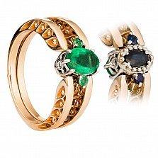Золотое кольцо-трансформер Медея с изумрудом и сапфиром