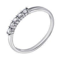Золотое кольцо в белом цвете с пятью бриллиантами 000070554