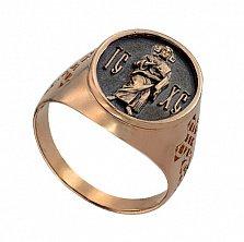 Кольцо из красного золота Иисус Христос