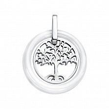 Серебряный кулон Древо жизни в кольце из белой керамики