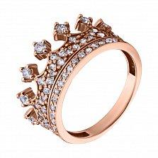 Золотое кольцо с фианитами Корона