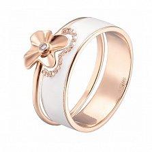 Двойное кольцо в розовом золоте Августина с эмалью и фианитами